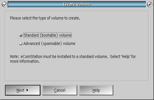 first page of Create Volume dialog