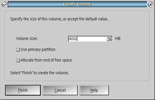 third page of Create Volume dialog