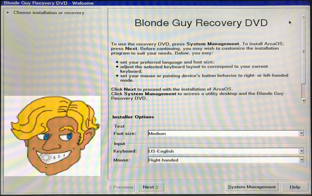 Blonde Guy Recovery Screen