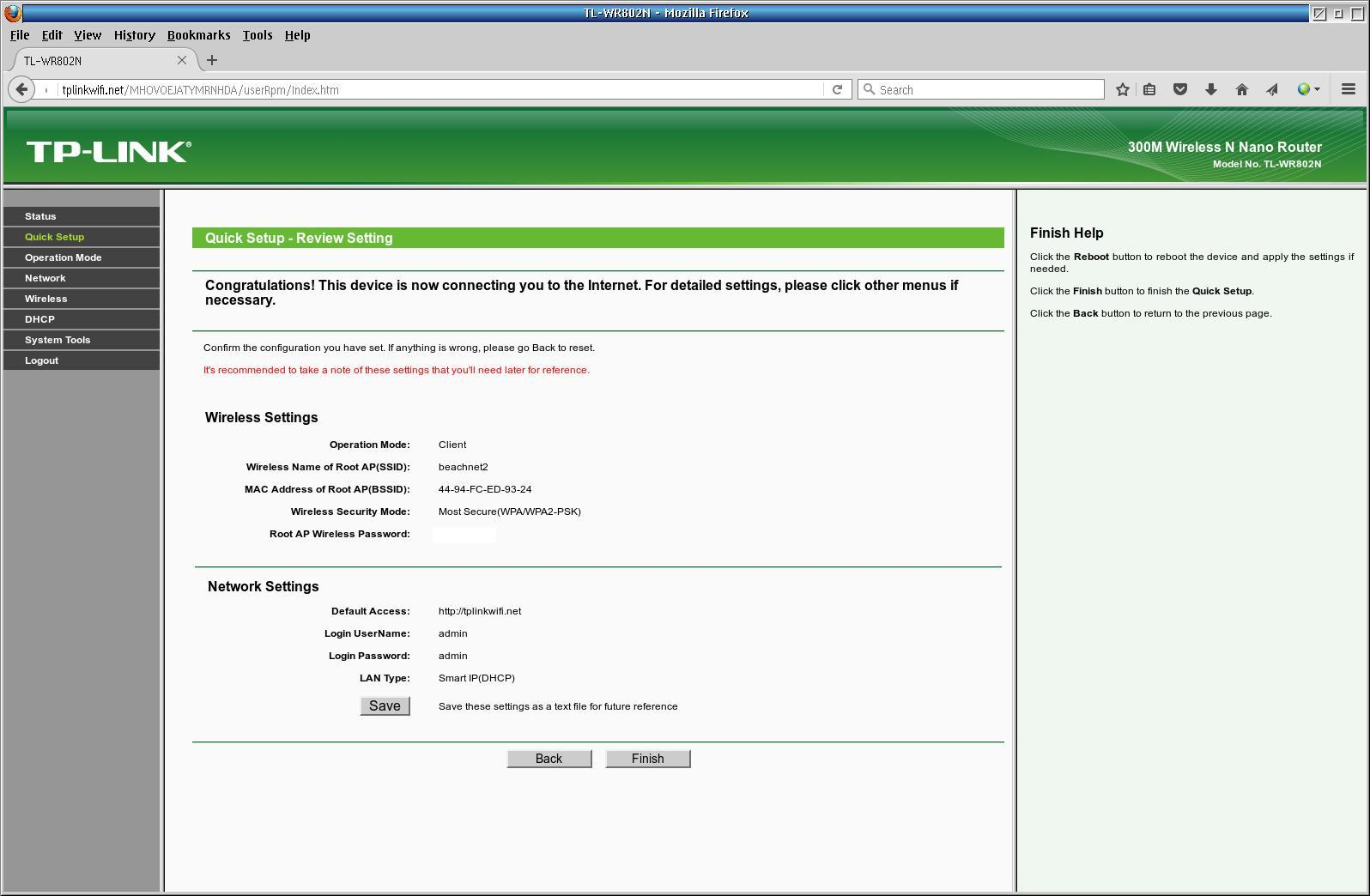 TPLink Quick Setup Screen 6